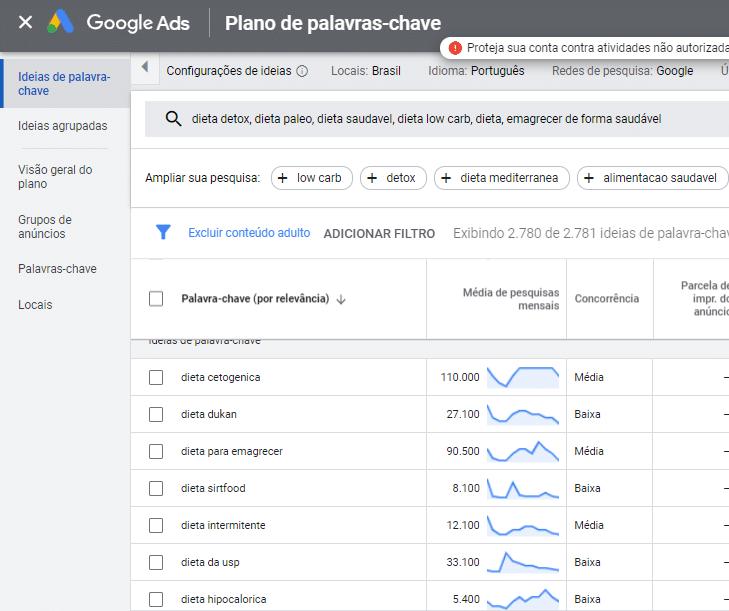 pesquisa dieta google